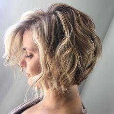 Short Angled Bob Wavy Hair Beach Waves Bohemian Hair Blonde Highlights Lowlights Aveda Full Spectrum Color Salon Dulay Aveda Windermere, Florida