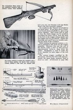 MAKE YOUR OWN CROSSBOW. I know it ain't much but who knows, maybe you guys might make some modifications of your own.