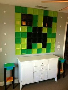 Minecraft mural for kids game room.  Use canvas painted instead???