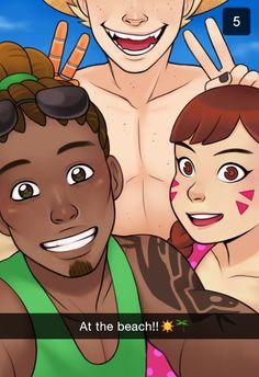 Lucio, D.VA and Junkrat at the beach Snapchat