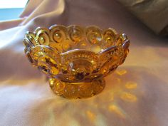 Moon & Stars Amber Gold Compote Vintage