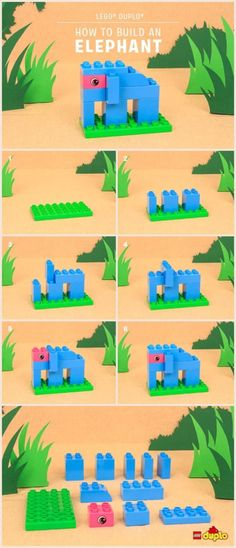 Here's how you and your toddler can build a cute elephant, with just a few LEGO DUPLO bricks! Here's how you and your toddler can build a cute elephant, with just a few LEGO DUPLO bricks! Lego Design, Lego Duplo Animals, Lego Therapy, Lego Challenge, Lego Activities, Lego Games, Lego Club, Lego Craft, Lego Blocks
