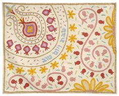 Hand-Embroidered Pomegranate Challah Cover