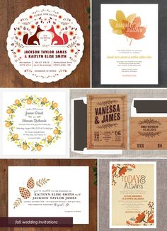 Autumn Wedding Invitations as seen on invitationcrush.com