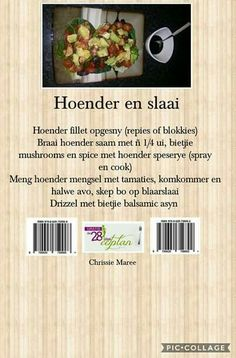 28 dae eetplan - Hoender en slaai My Recipes, Diet Recipes, Chicken Recipes, Cooking Recipes, Favorite Recipes, Recipies, 28 Dae Dieet, Bacon Wrapped Potatoes, Dieet Plan