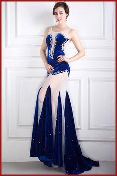 Ms. Sexy See-through Velvet Diamond Tail Nightclub Cantantes Dj Women Clothes Costume Bodysuit Nightclub Singer Clothes