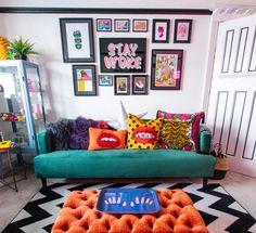 Funky Living Rooms, Funky Bedroom, Living Room Orange, Colourful Living Room, Living Room Sofa, Living Room Designs, Bedroom Decor, Sofa In Bedroom, Colourful Bedroom
