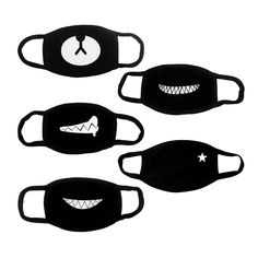 Hanjoy Top Quality Exo Cute Bear Teeth Star Unisex Cotton Blend Anti Dust Face Mouth Mask for Men/Woman, Black, 5 Piece Mouth Mask Fashion, Fashion Mask, Kpop Face Mask, Boca Anime, Ayo And Teo, Bear Mask, Rave Mask, Stylish Clothes, Fashion Clothes