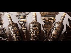Decoupagem em garrafa com guardanapo e botões ( Passo a passo ) - YouTube Bottle Art, Bottle Crafts, Project 365, Decoupage, Projects To Try, Diy, Painting, Acrylics, Videos