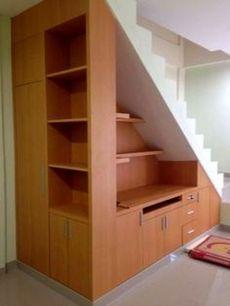 Under stair storage @ Anugerah Mitra Bahari office space. Under stair storage @ Anugerah Mitra Bahari office space. Staircase Storage, Basement Storage, Basement Stairs, House Stairs, Staircase Design, Basement Ideas, Open Basement, Open Staircase, Under Stair Storage
