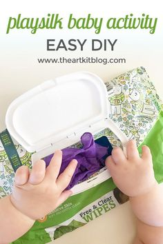 Playsilk Baby Activity {Easy DIY!} With a squirmy baby at diaper changes, the wipe package seemed to be the only thing that entertained her long enough to keep her