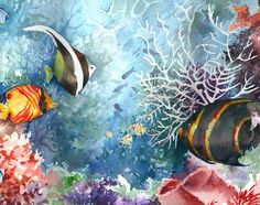 Panoramic Fish watercolor painting print signed by baylesdesign