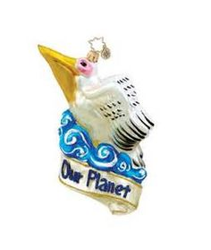 Pelican Bird Mail Pink Personalized Christmas Tree Ornament