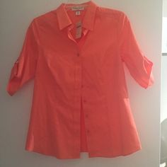 Coral button-up No iron and new with tag. Has button on sleeve as pictured Coldwater Creek Tops Button Down Shirts