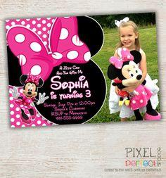 Minnie Mouse Birthday Invitation Pink Polka Dot First Second Third Photo Chevron Stripe