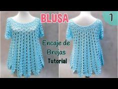 (15) Patrón blusa amplia a crochet o ganchillo. Encaje de Brujas (1/2) - YouTube