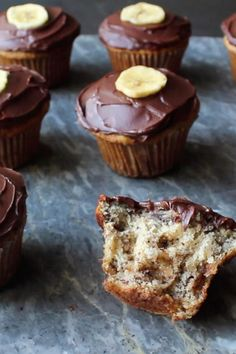 Moist banana muffins get even better when Chef John adds walnuts and dark chocolate to the batter and frosts them with an easy ganache. Banana Dessert Recipes, Cupcake Recipes, Cupcake Cakes, Kid Cakes, Moist Banana Muffins, Ripe Banana Recipe, No Bake Banana Pudding, Yummy Treats, Sweet Treats