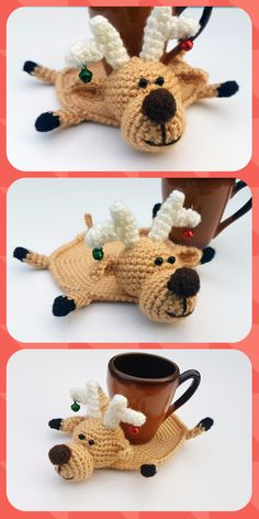 Christmas coaster Deer decor Deer coaster Animal coaster Christmas table decor Christmas deer crochet deer gift for father reindeer gift This is Crochet Coaster Deer coaster . He is crocheted from acrylic yarn and filled with fyberfill. A great accessor Christmas Coasters, Etsy Christmas, Christmas Deer, Crochet Christmas, Crochet Toys Patterns, Crochet Beanie Pattern, Stuffed Toys Patterns, Crochet Deer, Crochet Doilies