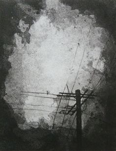 Storm - telephone pole against stormy sky - acid line etching with aquatint. $75.00, via Etsy.