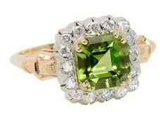 Vivid Peridot & Diamond Vintage Ring