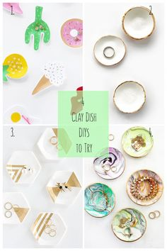 4 Clay Dish DIYs To Try: We can never have too many clay dishes to store our trinkets. Here are 4 jewelry or trinket dishes you can make - click through to make your own - http://maritzalisa.com/4-clay-dish-diys-try/