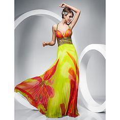 vaina / columna correas palabra de longitud vestido de noche de gasa – USD $ 249.99