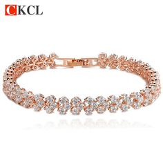 New Hot Clear Zirconia Crystal Gold / Silver Color Bracelets & Bangles Roma Bracelet For Women Fashion Jewelry