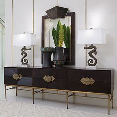 ** sideboard and mirror