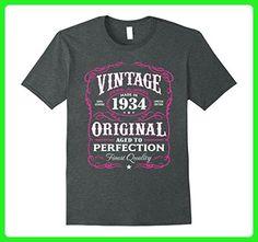 Mens Vintage Made In 1934 Birthday Gift T-Shirt 3XL Dark Heather - Birthday shirts (*Amazon Partner-Link)