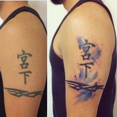 Tattoo updated! By @dn_alves . Aquarela . Free watercolor . Kanji . Tattoo Art . Tattooist . Daniel r alves