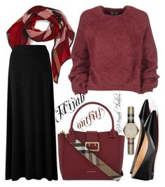 """#Hijab_outfits #Red_black #Burberry"" by mennah-ibrahim on Polyvore featuring Tom Ford, Burberry and Christian Louboutin"