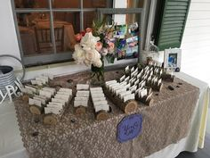 Great way to keep place cards from blowing away during your outdoor reception.