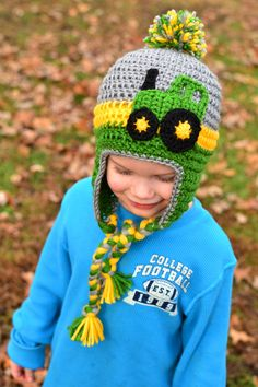 Crochet Tractor Earflap Hat with Pompom - sizes baby to kids - Pick your colors! #pompomhat #CrochetHat