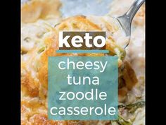 You will love this Keto Tuna Zoodle Casserole packed with zucchini noodles, a creamy cheese sauce and chunks of tuna. This low carb comfort food is under 6 net carbs and will become your new favorite! Zoodle Casserole, Tuna Casserole, Casserole Recipes, Couscous, Spinach Recipes, Diet Recipes, Asparagus Soup, Low Carb Casseroles, Creamy Cheese
