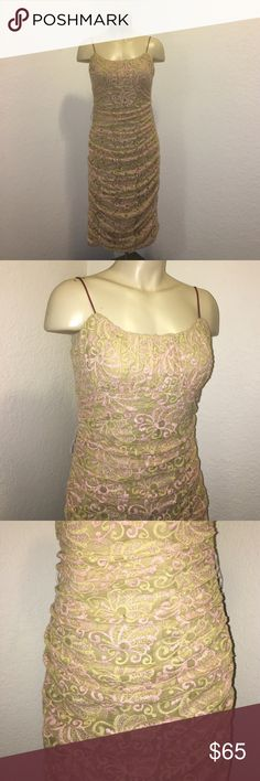 Betsy Johnson Vintage Embroidered Pink Gold Dress Stunning Betsy Johnson black label vintage dress in excellent preowned condition! Zipper up the side. Chic and stylish! Gold and pink Embroidered! Size 8 Betsey Johnson Dresses Midi