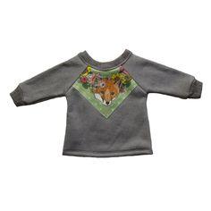 green fox print baby sweatshirt organic cotton. $29.00, via Etsy.