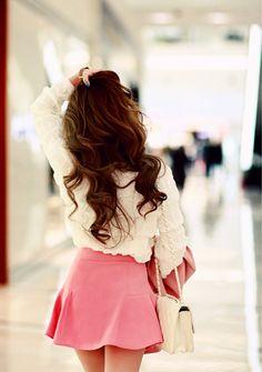 pink skirt, white shirt