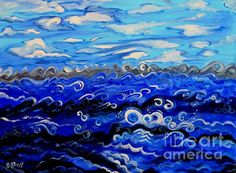 Creation Second Day. Sky and Water. Oil on Canvas by Caroline Street.