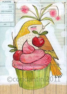 whimsical watercolor painting of a bird and cupcake - 5 x 7 - archival limited edition print by cori dantini