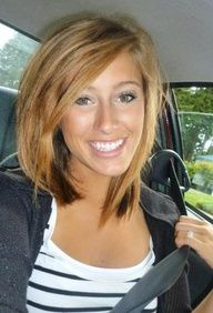 I like this long bob with layers and a side swoop bang. Cute and edgy.