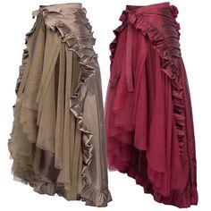 BP Steampunk Vintage Victorian Lolita Punk Ruffled Long Lace-up Open Skirt Size