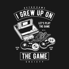 Shop Vintage Retro Gamer Geek Shirt Video Games gamer t-shirts designed by mada as well as other gamer merchandise at TeePublic. Geek Shirts, Retro Videos, Retro Video Games, T Shirt Designs, Typography Poster Design, Logo Design, Gamer Quotes, Cool Notebooks, Retro Gamer