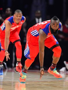 3 pointer celebration James harden and west westbrook I Love Basketball, Basketball Legends, Basketball Players, James Harden Mvp, Russell Westbrook, Oklahoma City Thunder, Houston Rockets, Sports Pictures, Nba Players