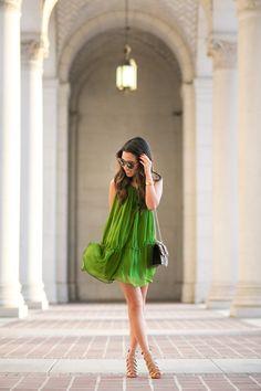 Happy :: Emerald silk dress