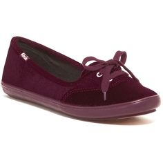 Keds Teacup Velvet Slip-On Shoe (46 CAD) ❤ liked on Polyvore featuring shoes, flats, wine, slip on flats, laced up shoes, synthetic shoes, laced shoes and round toe shoes