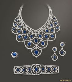 Mouawad Jewelry - Haute Joaillerie 18k White Gold Diamond & Blue Sapphire Set with Bib Necklace, Bracelet, Earrings and Ring