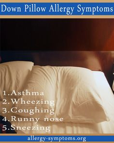 Down Pillow Allergy Symptoms  Itchy rashes, stuffy nose, coughing and difficulty in breathing are common symptoms of down pillow allergy. There are myths revolving around indoor allergies. http://allergy-symptoms.org/down-pillow-allergy/