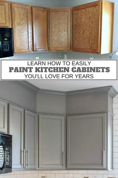 How to Easily Paint Kitchen Cabinets You Will Love It's amazing how painting kitchen cabinets can be such an easy kitchen makeover project. Check out how to easily paint kitchen cabinets. New Kitchen Cabinets, Kitchen Redo, Home Decor Kitchen, Home Kitchens, Kitchen Ideas, Kitchen Themes, Grey Cabinets, How To Paint Kitchen Cabinets, Decorating Kitchen