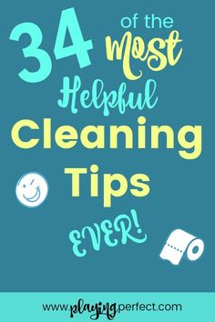 Cleaning can be hard, but it can become easier! Here are 34 of the most helpful cleaning tips ever! You'll be taking care of complicated cleaning issues in no time! Cleaning tips never looked so great! FREE printable! | playingperfect.com
