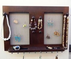 Jewelry Holder with  Shelf Earring Holder by Blingjewelryholders